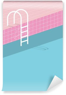 Vinyl Fotobehang Zwembad in vintage stijl. Oude retro roze tegels en witte ladder. Zomer poster achtergrond sjabloon.
