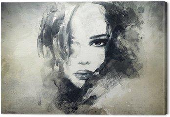 Abstrakt kvinde portræt Fotolærred