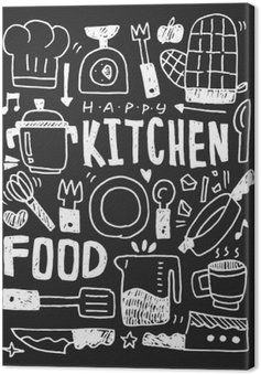 Køkkenelementer doodles håndtegnet linieikon, eps10 Fotolærred