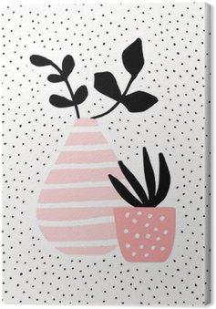 Pink Vase og Pot med Planter Fotolærred
