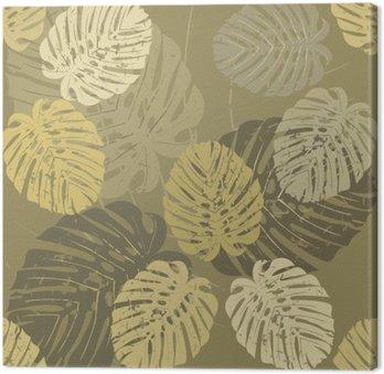 Problemfri mønster med tropiske blade af Monstera Fotolærred