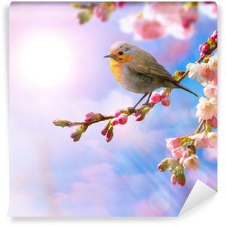 Fotomural de Vinil abstract Spring border background with pink blossom