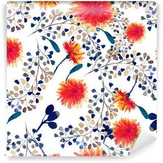 Fotomural de Vinil Aquarela padrão sem emenda com o leão. fundo floral.