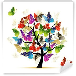 Fotomural de Vinil Art tree with butterflies for your design