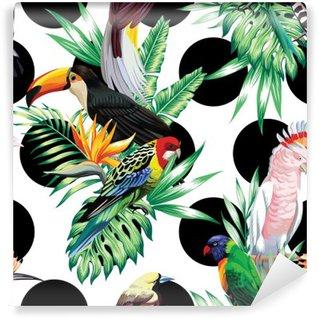 Fotomural de Vinil Aves tropicais e folhas de palmeira padrão