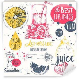 Fotomural de Vinil Bebidas no estilo do esboço. Úteis sucos e smoothies naturais.