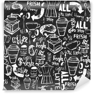Fotomural de Vinil Café desenhada à mão padrão sem emenda sem emenda. Teste padrão do café com letras. vetor padrão de café no fundo escuro para o acondicionamento, banners.