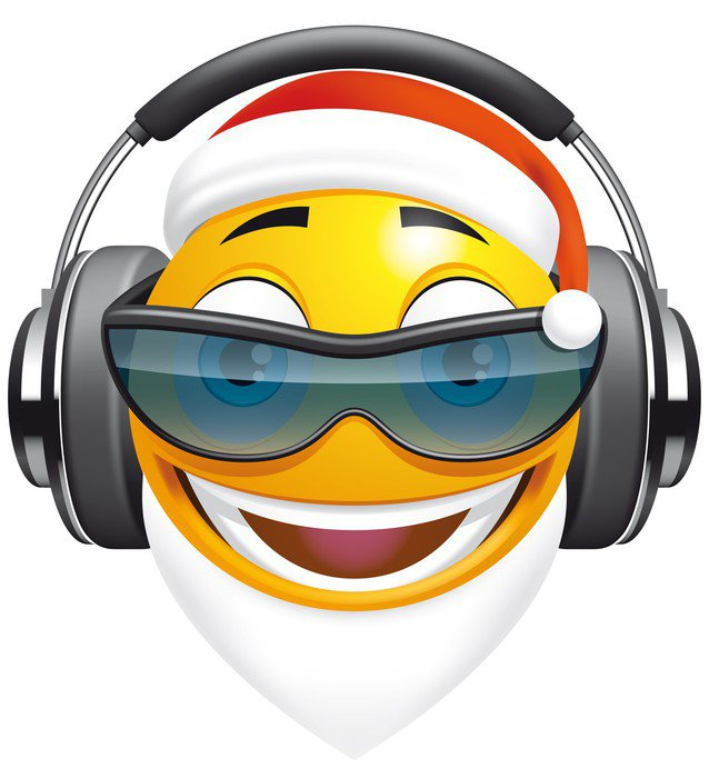 Fotomural de Vinil Emoticon Santa DJ - Celebrações Internacionais