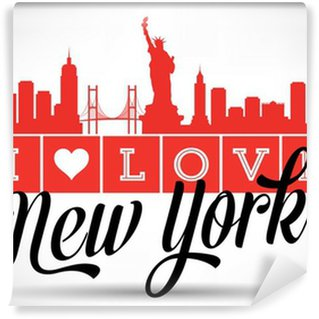 Fotomural de Vinil I Love New York Skyline Design