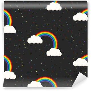Fotomural Lavável Céu nocturno da fantasia garoto padrão sem emenda. Estrelas confetti, nuvens e menino do arco-íris papel de parede cinzento e design de tecido.