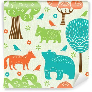 Fotomural Lavável Forest animals seamless pattern
