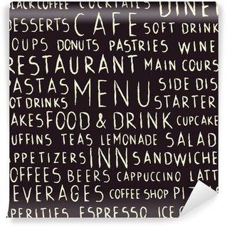 Fotomural Lavável Handwritten restaurant related seamless pattern on blackboard