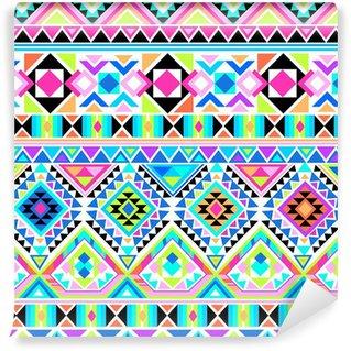 Fotomural Lavável neon aztec print ~ seamless background