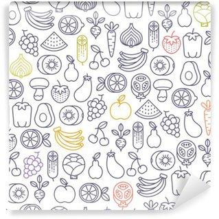 Fotomural Lavável Teste padrão sem emenda com frutas e legumes ícones