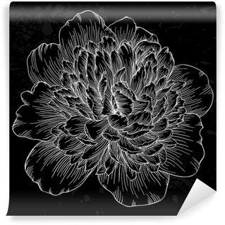 Fotomural de Vinil Linda flor peônia preto e branco no fundo. linhas de contorno e derrames desenhada à mão.