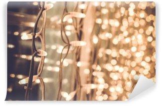 Fotomural de Vinil Lindo luzes de Natal brilhantes na janela no