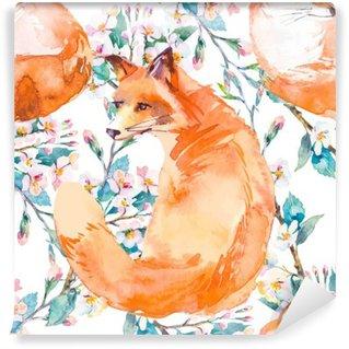 Fotomural de Vinil Padrão de vida selvagem. Fox e ramos floridos. .