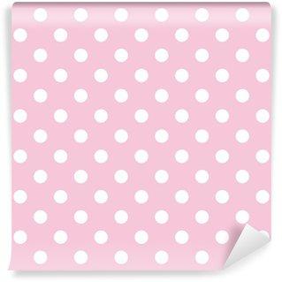 Fotomural de Vinil Polka dots on baby pink background retro seamless vector pattern