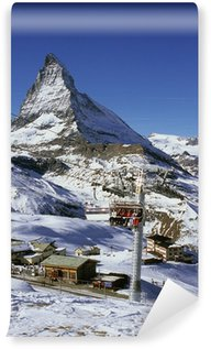 Fotomural de Vinil riffel alp, skiiers, matterhorn