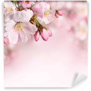 Fotomural de Vinil Spring flowers background with pink blossom