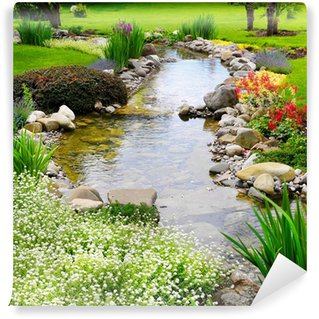 Fotomural de Vinil Spring flowers in the Asian garden