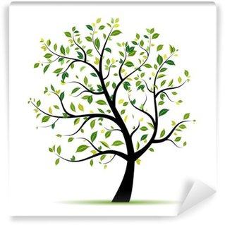 Fotomural de Vinil Spring tree green for your design