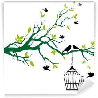Fotomural de Vinil spring tree with birdcage and kissing birds
