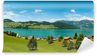 Fotomural de Vinil wide view of Alps and Alp lake