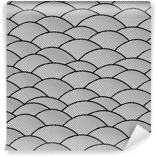 Fotomural Estándar Abstracto sin patrón dibujado a mano, las olas de fondo