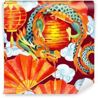 Fotomural Estándar Acuarela china del dragón patrón transparente.
