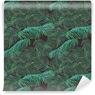 Fotomural Estándar Acuarela hojas de palma patrón saemless sobre fondo oscuro.