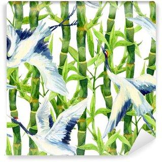 Fotomural Estándar Acuarela patrón transparente asiático pájaro de la grúa