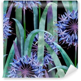 Fotomural Estándar Agapanthus de la acuarela de flores sin patrón en el fondo Negro