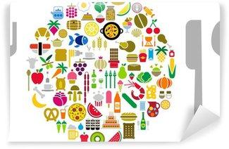 Fotomural Estándar Alimentación y bebidas iconos en forma de esfera con plata
