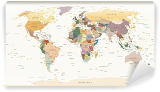 Fotomural Estándar Altamente detalladas políticos Colores del mapa del mundo de la vendimia