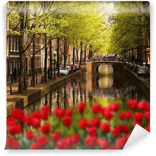 Fotomural Estándar Amsterdam con el canal verde en el centro de la ciudad, Holanda