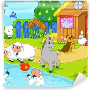 Fotomural Estándar Animales de granja de dibujos animados que juegan juntos