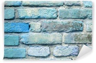 Fotomural Estándar Antiguo fondo de pared de ladrillo azul