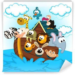 Fotomural Estándar Arca de Noé con los animales - ilustración vectorial