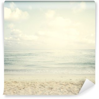 Fotomural Autoadhesivo Playa tropical de la vendimia en verano