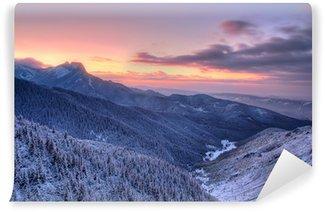 Fotomural Autoadhesivo Zachód słońca nad Tatrami