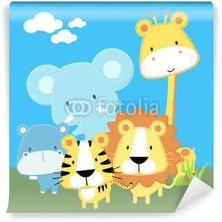 Fotomural Estándar Baby Safari amigos