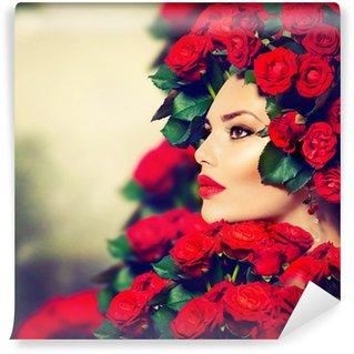 Fotomural Estándar Belleza Moda Modelo Retrato de niña con rosas rojas Peinado