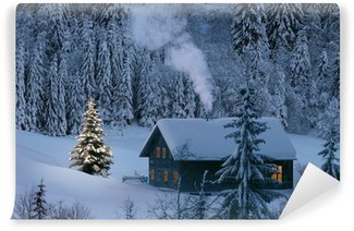 Fotomural Estándar Berghütte im Winter