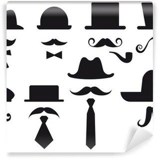 Fotomural Estándar Bigotes y sombreros, conjunto de vectores
