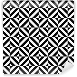 Fotomural Estándar Blanco y negro en forma de diamante patrón geométrico sin fisuras, vector