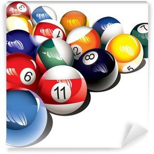 Fotomural Estándar Brillante juego de bolas de billar, ilustración vectorial