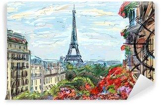 Fotomural Estándar Calle de París - ilustración