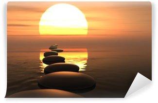 Fotomural Estándar Camino zen de piedras en la puesta del sol