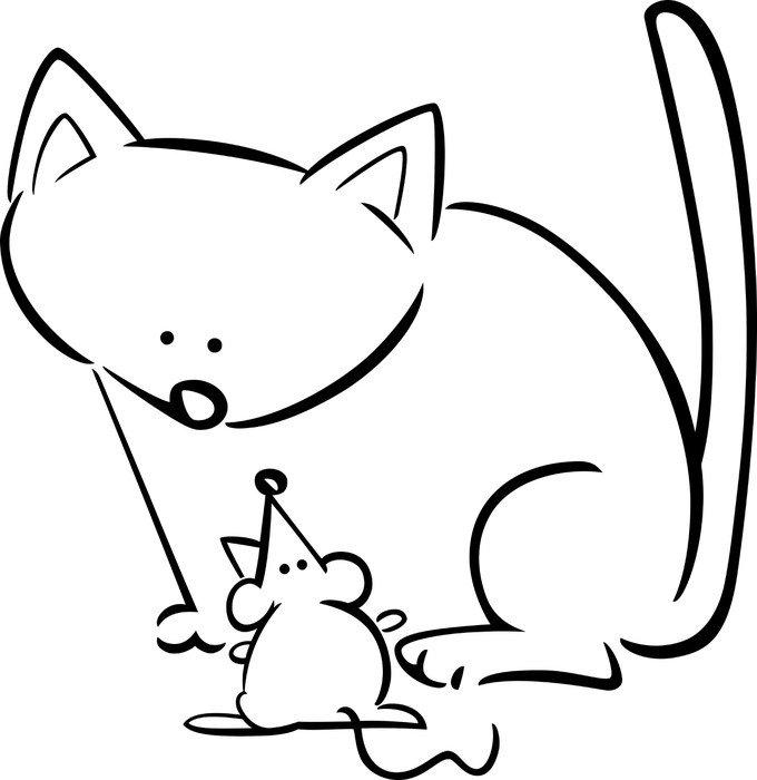 Fotomural Estándar Caricatura dibujo de gato y el ratón para colorear - Mamíferos